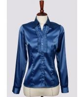 【即納】シャツ ブラウス 長袖 フリル襟シルクタッチOLシャツ tk-a1121-l-bl【カラー:ブルー】【サイズ:L】
