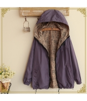 フード付きジップアップ裏プリント入り裾紐付き多色無地長袖パーカ hs0100-3