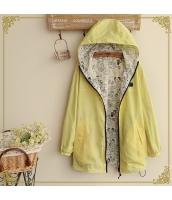 フード付きジップアップ裏プリント入り裾紐付き多色無地長袖パーカ hs0100-5