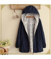 フード付きジップアップ裏プリント入り裾紐付き多色無地長袖パーカ hs0100-6