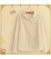 胸元刺繍入りラウンドカラー無地ストレート長袖カジュアルシャツ hs0168-1
