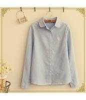 胸元刺繍入りラウンドカラー無地ストレート長袖カジュアルシャツ hs0168-2