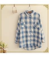 シャツ/ブラウス チェック柄 胸元ポケット切替 ゆったり 長袖【ブルー/藍】[フリー] hs2068-1