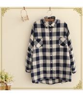 シャツ/ブラウス チェック柄 胸元ポケット切替 ゆったり 長袖【ネイビー/紺】[フリー] hs2068-2