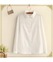 シャツ/ブラウス 胸元ストライプ柄 無地 長袖【ピーターパン・カラー】[S/M/L/XL] hs2146-1