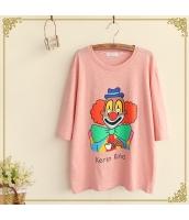 半袖Tシャツ 胸元キャラクタープリント クルーネック/丸首 無地【ピンク】[S/M] hs2199-3