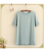 半袖Tシャツ クルーネック/丸首 袖口ロールアップ 無地【グリーン/緑】 hs2418-1