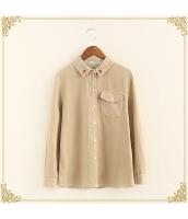 シャツ 柄物 長袖 刺繍 コーデュロイ プリント hs3429-1