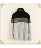ニット・セーター 長袖 タートル 暖い 細身 ミックス hs3437-2
