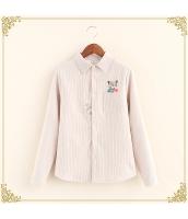シャツ 柄物 長袖 刺繍 ボーダー 裏起毛 hs3495-1