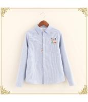 シャツ 柄物 長袖 刺繍 ボーダー 裏起毛 hs3495-2