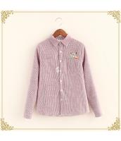 シャツ 柄物 長袖 刺繍 ボーダー 裏起毛 hs3495-3