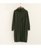 ニット・セーター 長袖 学生 暖い 無地 ゆったり タートル ロング丈 hs3525-1
