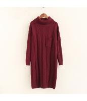 ニット・セーター 長袖 学生 暖い 無地 ゆったり タートル ロング丈 hs3525-2