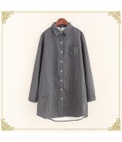 シャツ 柄物 長袖 ミディアム丈 ゆったり ボーダー 暖い 裏起毛 hs3603-1