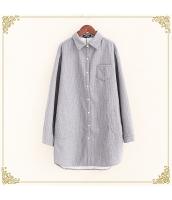 シャツ 柄物 長袖 ミディアム丈 ゆったり ボーダー 暖い 裏起毛 hs3603-2