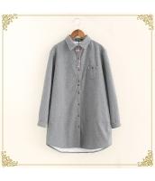 シャツ 柄物 長袖 ミディアム丈 ゆったり 裏起毛 hs3606-1