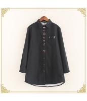 シャツ 柄物 長袖 ミディアム丈 ゆったり 裏起毛 hs3606-2