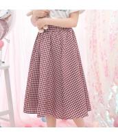 スカート 膝丈 格子 Aラインスカート 大裾スカート hs3875-1
