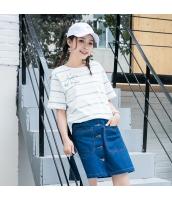 Tシャツ 半袖・五分袖 丸首 ボーダー 甘美 hs3892-1