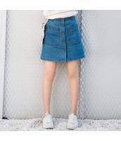 スカート ミニ デニム 学院風 シングルボタン 細身 タイト Aラインスカート hs3899-2
