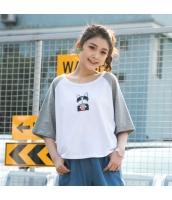 Tシャツ 半袖・五分袖 丸首 ラグラン袖 ミックス 猫柄刺繍 ゆったり hs3902-1