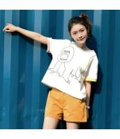 Tシャツ 半袖・五分袖 丸首 可愛い 甘美 プリント ゆったり hs3906-1