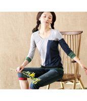 【即納】Tシャツ/カットソー/カラー切替/コットン素材使用/クルーネック-tk-in6690-gy-l-【カラー:グレー】-【サイズ:L】