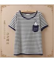 半袖Tシャツ ボーダー柄 胸元ウサギプリント 丸首【ブラック/黒】 jf0002-1