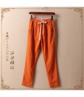 ロングパンツ ウエストゴム紐付き ストレート 無地【オレンジ/橘】 jf0263-4