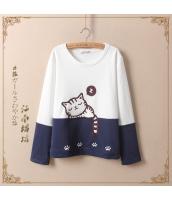 長袖Tシャツ ネコ刺繍入り パッチワーク切替 丸首【ホワイト/白】 jf0275-2