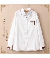 長袖シャツ 胸元ポケット切替 襟元刺繍入り ストレート 無地【ホワイト/白】 jf0657-2