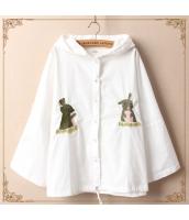 パーカ ウサギ刺繍入り フード付き ドルマン 無地 ゆったり【ホワイト/白】 jf0665-2