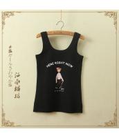 タンクトップ 胸元キャラクタープリント 無地 ベーシック【ブラック/黒】[フリー] jf0893-1