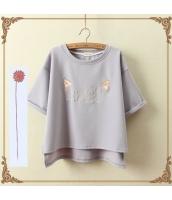 半袖Tシャツ 胸元刺繍入り 裾非対称 クルーネック/丸首 ゆったり【グレー/灰】 jf1111-1