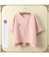 半袖Tシャツ 胸元刺繍入り 裾非対称 クルーネック/丸首 ゆったり【ピンク】 jf1111-2