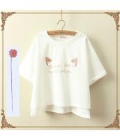 半袖Tシャツ 胸元刺繍入り 裾非対称 クルーネック/丸首 ゆったり【ホワイト/白】 jf1111-3