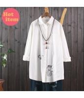 シャツ 長袖 復古 ゆったり 猫柄刺繍 jf1426-1