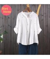 シャツ 長袖 花柄刺繍 ゆったり jf1432-1