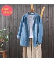 シャツ 長袖 ゆったり 植物きつね刺繍 レジャー jf1435-1