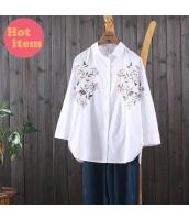 シャツ 長袖 ゆったり 花刺繍 復古 jf1447-1