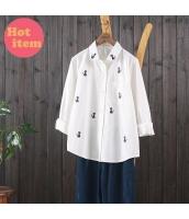 シャツ 長袖 ゆったり 猫柄刺繍 ポロネック jf1455-1