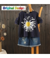 Tシャツ 半袖・五分袖 丸首 ベアトップ袖 太陽花プリント図案 jf1482-1