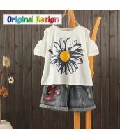 Tシャツ 半袖・五分袖 丸首 ベアトップ袖 太陽花プリント図案 jf1482-2