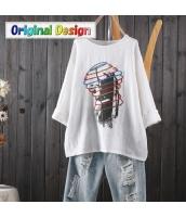 Tシャツ コイル刺繍 肖像プリント ゆったり 9分袖 jf1514-4