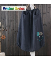 スカート 膝丈 復古 花刺繍 jf1539-1