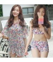 ビキニ水着 ビーチワンピースセット スカーフ柄 ピンク色 jgr1722-1