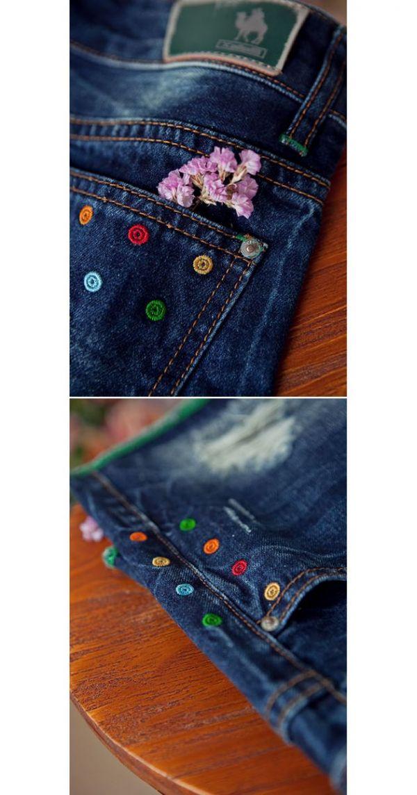 【即納】ショートパンツ ホットパンツ 刺繍入りストレート コットン□ゆったり-jm0671【カラー:ブルー】【サイズ:27】