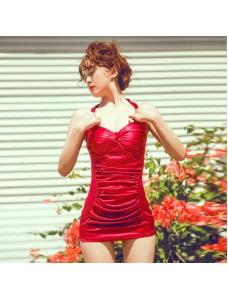 ボックス/スクエアワンピース水着 ホルターネック スカート風 フロントシャーリング【レッド/赤色】[M/L/XL] ksa1669-1