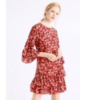 ガーベラレディース 丸首 ファッション イレギュラー 二層ぺプラム裾 プリント ワンピース  mb10349-1